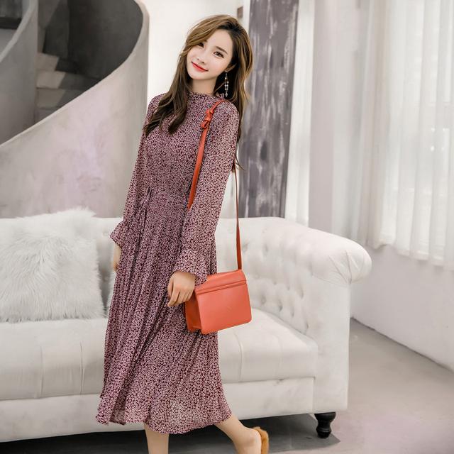 Women Dress Full Sleeve Elastic Slim Waist Chiffon