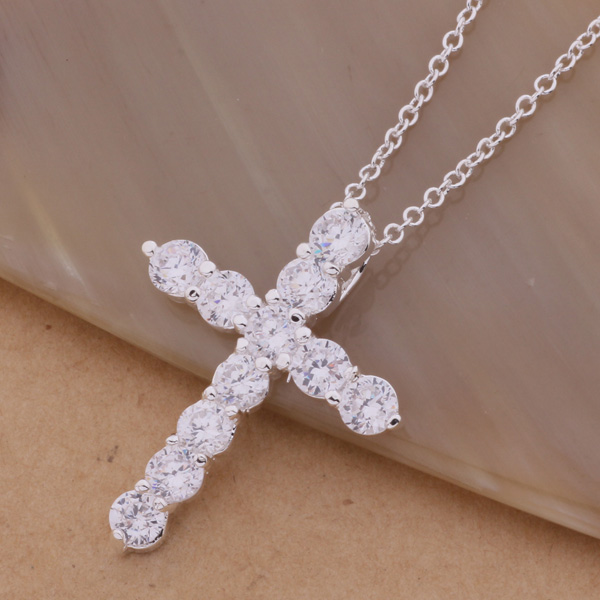 AN296 Hot silver color Necklace fashion jewelry pendant ablaze cross Factory wholesales high quality gifts