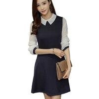 Черный синий Офисные Платья Женщин Новые Поступления Мода Длинным Рукавом элегантный Dress Ladies Повседневная Работа Dress With White Collar