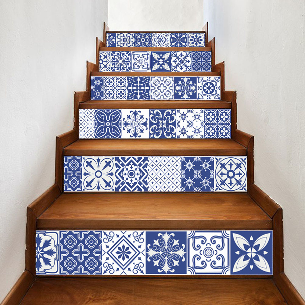 China Blue White Porcelain Vinyl Decals Wholesale Ceramic Tile Pattern for Room Stairs Decoration Home Decor Floor Wall Sticker ...