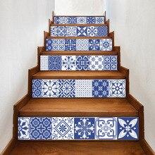 Calcomanías de vinilo de porcelana blanca y azul de China, azulejo de cerámica para decoración de escaleras de habitación, decoración de suelo para el hogar, pegatina de pared
