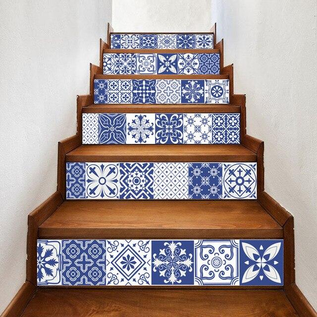 China Blau Weiß Porzellan Vinyl Aufkleber Keramik Fliesen für Raum Treppen Dekoration Wohnkultur Boden Wand Aufkleber