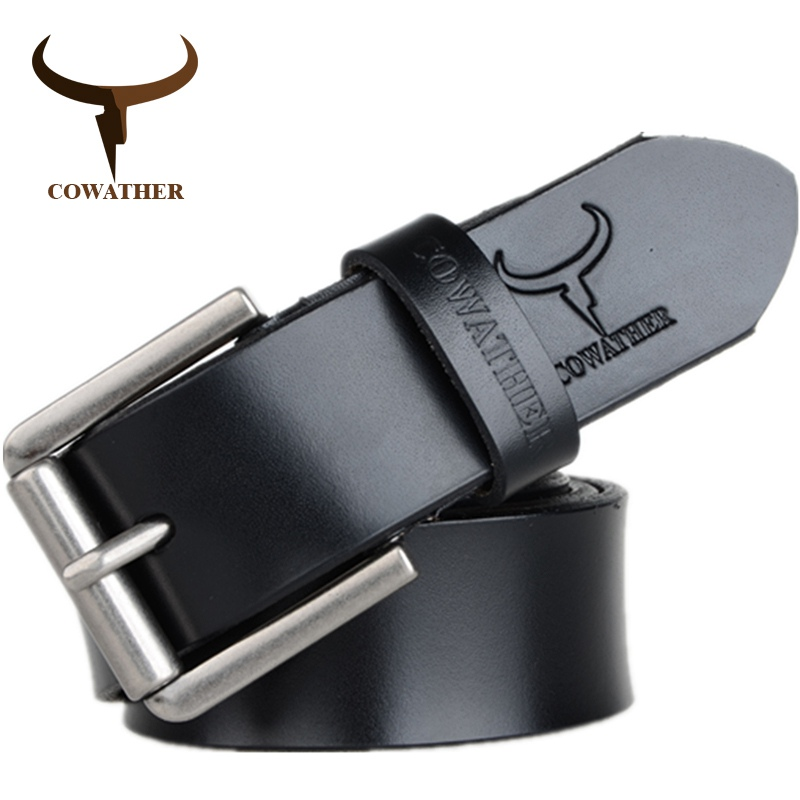 COWATHER cow genuine leather mens   belt   for men 2019 high quality luxury three colors 100-130cm   belt   for men free shipping