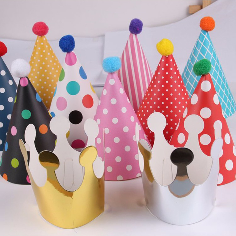 11pcs polka dot striped party hats kids birthday decorations diy korean cute paper cap crown christmas