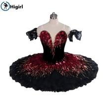 balet merah hitam hitam untuk pakaian balet gadis profesional klasik balet tutus pancake tutu nutcracker balet pakaian B010