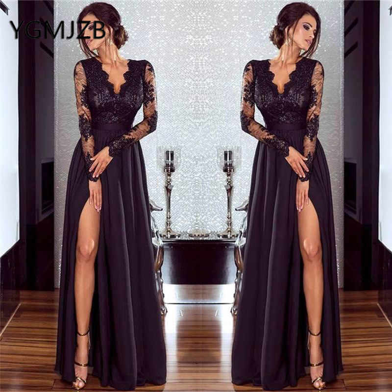 1acf6e9970 ... Long Prom Dresses 2019 A-line V-neck Full Sleeves High Side Slit Lace  ...