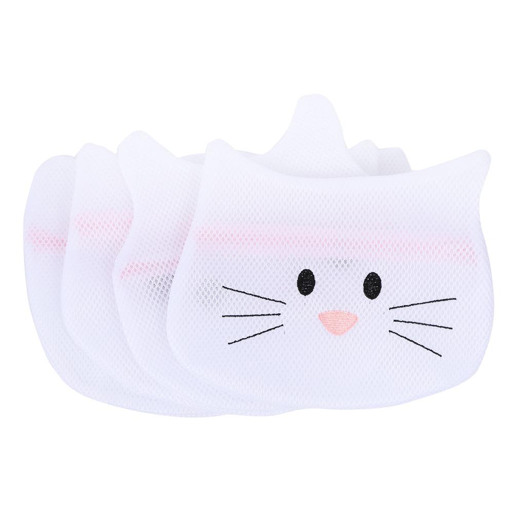 4 Pc/set Storage Bags Bra Underwear Washing Bag Laundry Bag Mesh Net Pouch Basket For Washing Machine Cute Cartoon Foldable