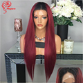 Dark Roots 99J Red Ombre Brazilian Hair Lace Front Human Hair Wigs Full Lace Ombre Human Hair Wig Ombre Lace Wigs With Baby Hair