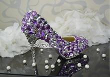 Handmade Lady's Luxurious Beautiful Purple Crystal Wedding Shoes Bridal Dress Shoes Women High heel Formal Shoes women