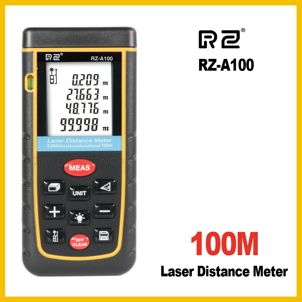 RZ RZA100 10 key 100M Laser Distance Meter Rangefinder Range Finder Electronic Ruler Digital Tape Measure Area volume Tool laser range finder 40m 60m 80m 100m digital laser distance meter tape area volume angle engineer measure construction tools
