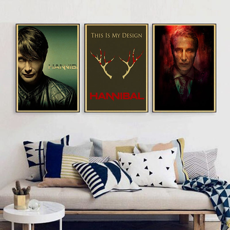 Hannibal Mads Mikkelsen Hugh Dancy Horrible movie Home decoration Kraft Movie retro Poster Drawing core Wall decal