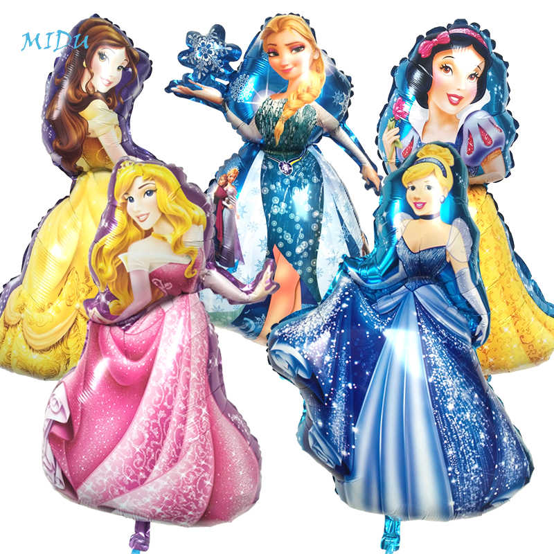 1PC Birthday Party Balloons Large Cinderella Snow White Elsa Princess Five Princess Foil Balloons Baby Shower Decoration Globos