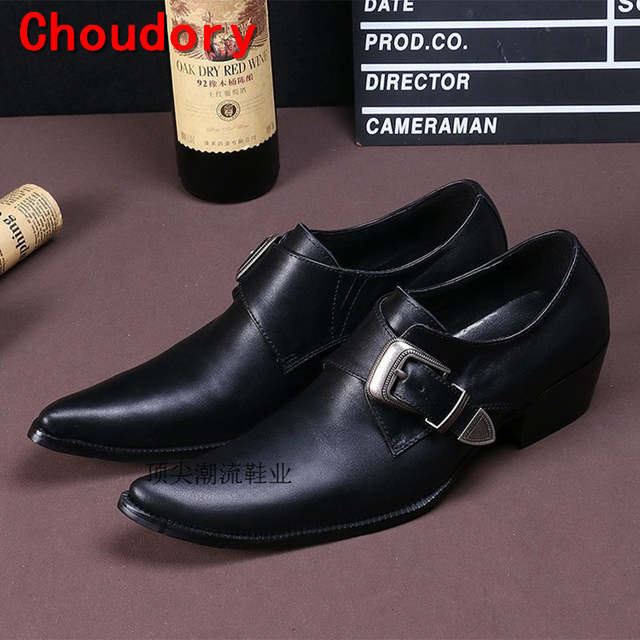 c9f8449372 Choudory chaussure homme black oxford masculino mens pointed toe dress  shoes crocodile skin loafers buckle shoe