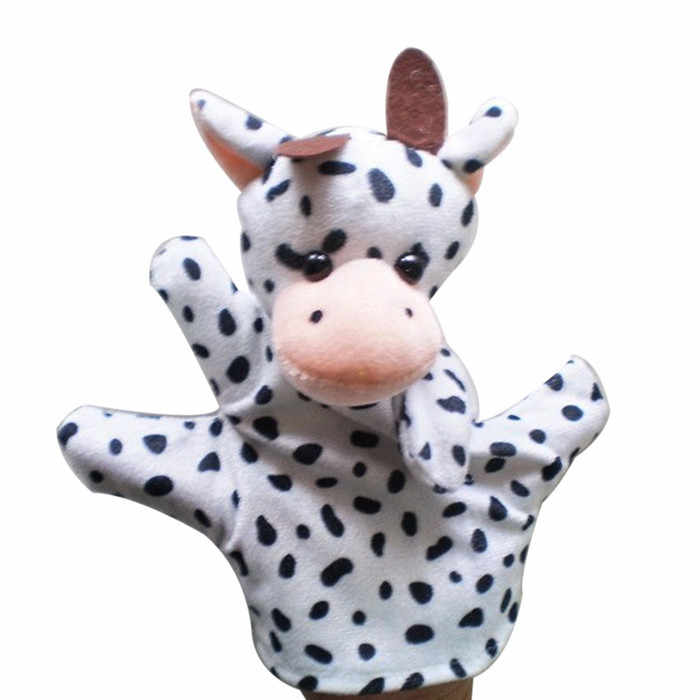 Finger Puppets Animals Cotton Hand Puppet Toys Hand Glove Puppet Finger Sack COW Plush Toys for Children Educational Gifts