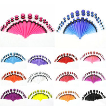 Fashion 36Pcs/Set Hot Acrylic Ear Gauge Taper and Plug Stretching Kits Body Piercing Jewelry 17 Colors
