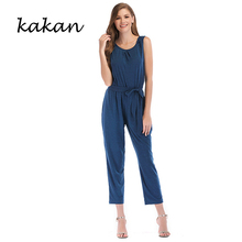 Kakan summer new women's jumpsuit solid color tie waist trousers sleeveless jumpsuit gray black blue jumpsuit недорого