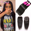7A Unprocessed Brazilian Virgin Hair With Closure 3 Bundles Brazilian Straight Hair With Closure Virgin Human Hair Weave Bundles