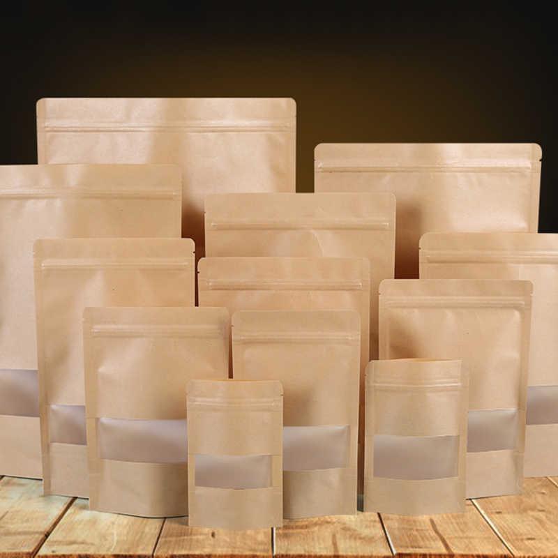Bolsa de papel Kraft bolsa con cierre de cremallera con ventana bolsa de regalo bolsa de té embalaje de alimentos bolsas de pie con cremallera bolsas de almacenamiento de Kraft