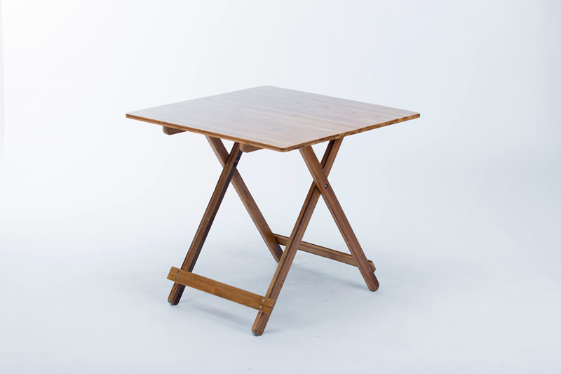 LK635 Bamboo Folding Table Home Small Square Dining Tables Students Learning Table Portable Computer Desk 70*70*65cm