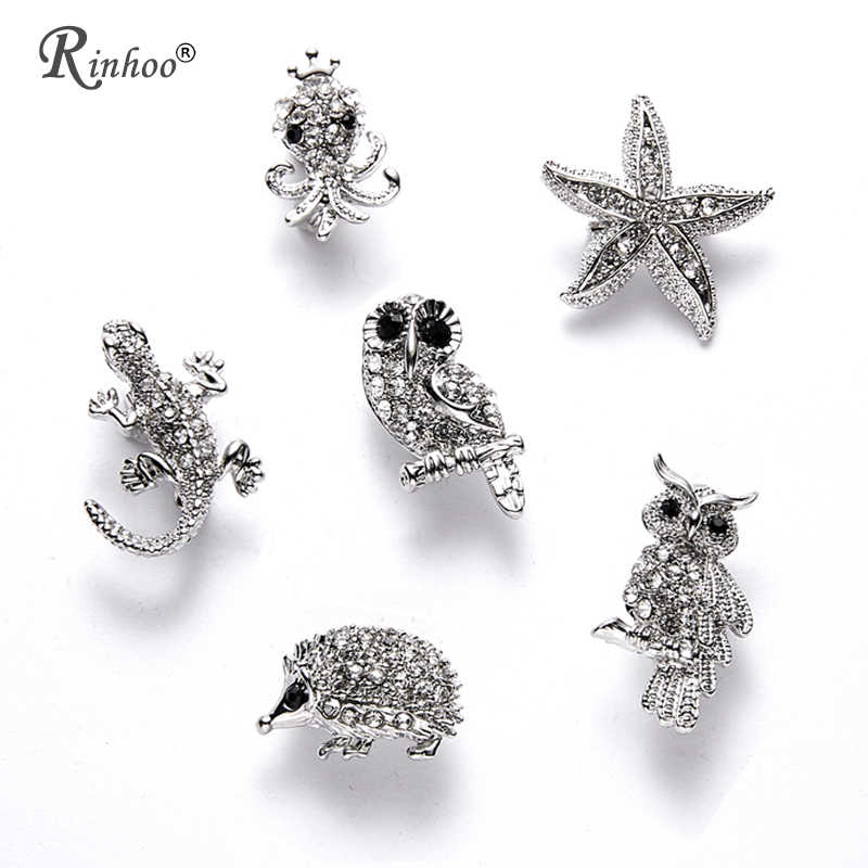 RINHOO Fashion Star Inkfish Birds Owl Hedgehog Lizard Brooch Pins for Women Enamel Broach Pins Men's Suit Jewelry Accessories