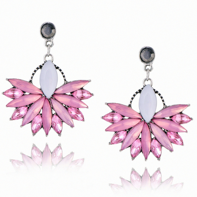 E0226 High Quality Pink Crystal Drop Earrings For Women 2017 Brand Fashion Wedding Jewelry Luxury
