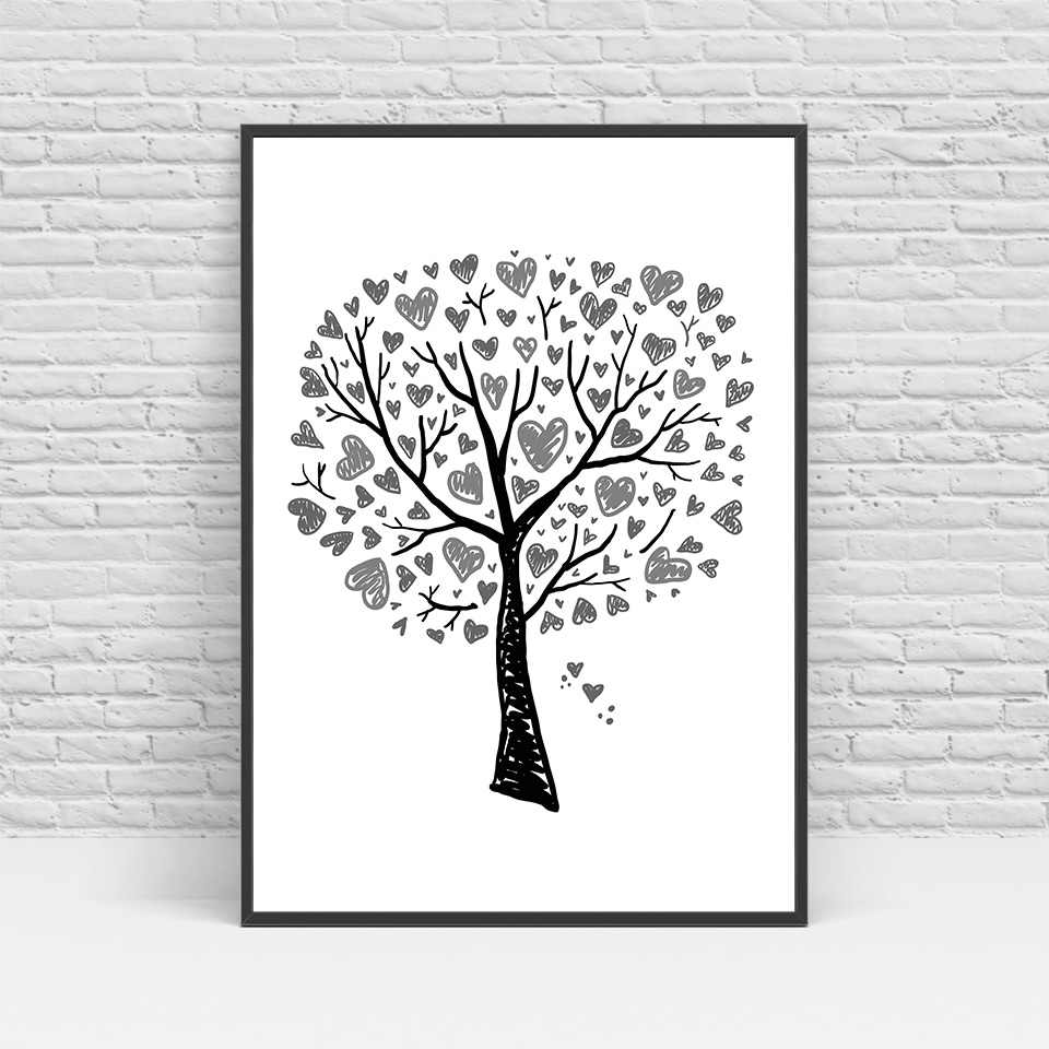ArtSailing Abstract Nordic canvas art Tree Motivational quote Painting Pictures for Living Room modern Home decoration posters