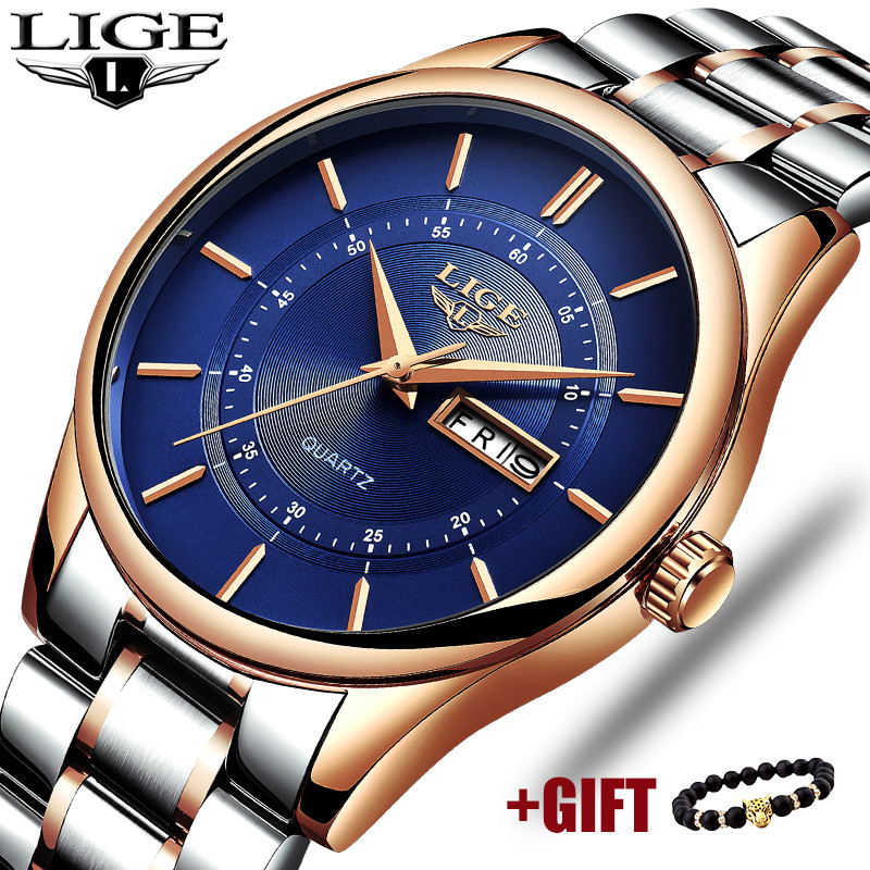 LIGE 2018 New Men Watch Casual Fashion Top Luxury Brand Military Stainless Steel Business Quartz Male Watches Relogio Masculino bosck top luxury brand watch men casual brand watches male quartz watches men waterproof business watch military stainless steel