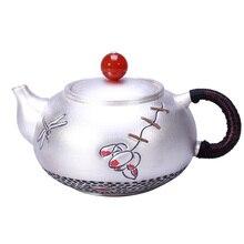 Sterling silver handmade 999 red sandalwood side pot sterling hammer pattern tea set