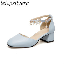 Women Pumps Beach Shoe Med Heel Pu Pearl Chain Buckle 2018 Spring Summer  Sexy Fashion Sweet Casual Dress Wedding Pink White Blue 72eb01c6dbc8