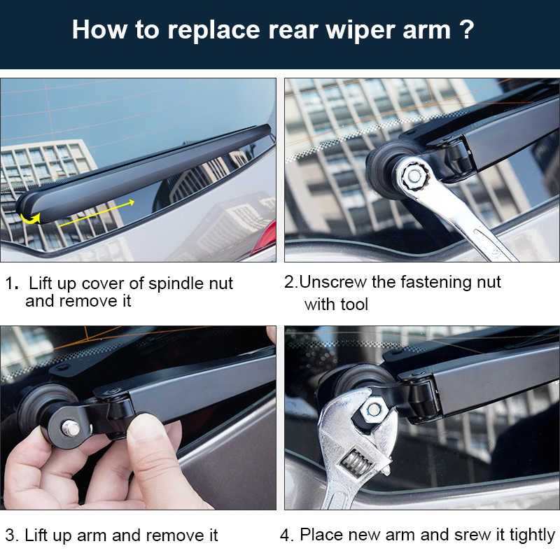 Wiper Rear Wiper Blade /& Arm Set Kit for Mercedes GLK 200 220 330 350 CDI 4Matic X204 2015 2014 2013 2012 2011 2010 Replacement Wipers