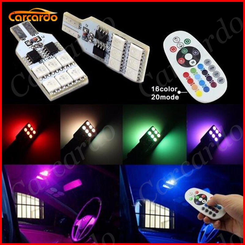 Hot!! 2PCS Remote Control RGB T10 LED Lamp Bulbs W5W 194 168 5050SMD Car LED Side Wedge Tail Dome Reading Light Free Shipping cnsunnylight 10pcs canbus t10 w5w 168 194 smd led car wedge side mini bulb lamp for car tail parking dome door map light 5500k