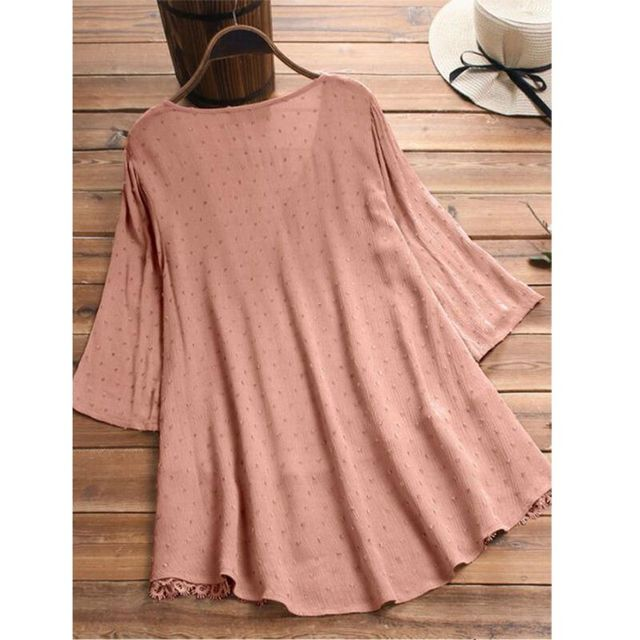 Women V-Neck, Three Quarter Sleeve, Lace Hem, Linen Blouse. Sizes M-5XL