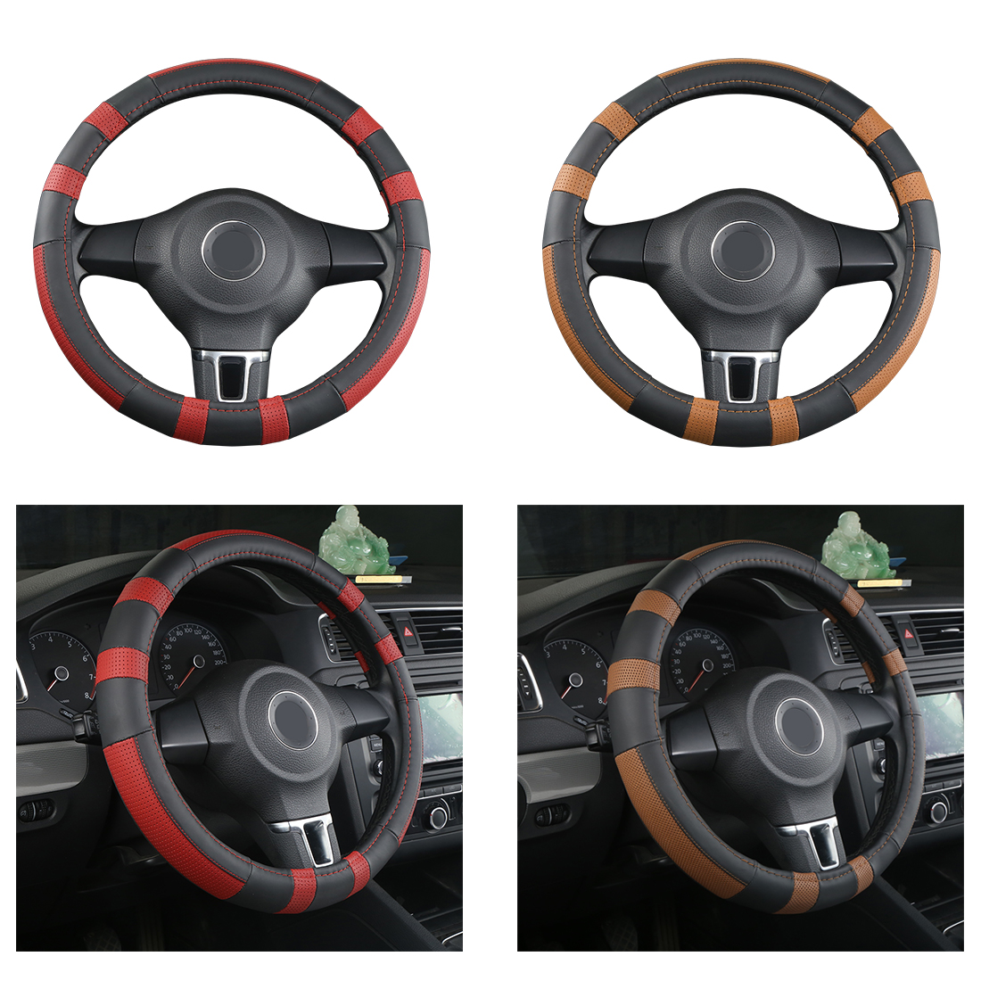 Dewtreetali 38cm Leather Car Steering Wheel Cover Steering-wheel Protector Car-styling For Ford Focus 2 VW Chevrolet Nissan