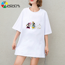 New Mickey Mouse Loose Short Sleeve T Shirt Summer Casual Fashion Anime Tshirt Cute Party Club Big Size Tee Black