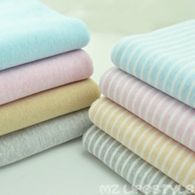 Elastic cotton Lycra knitted fabric sanding striped cloth cloth with soft waxy skin baby T-shirt fabric