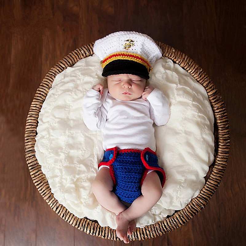 Newborn Photography Props Infant Accessories Baby Boy Photography Knitted Costume Navy Hat+Pants Set New Born Baby Photo Props