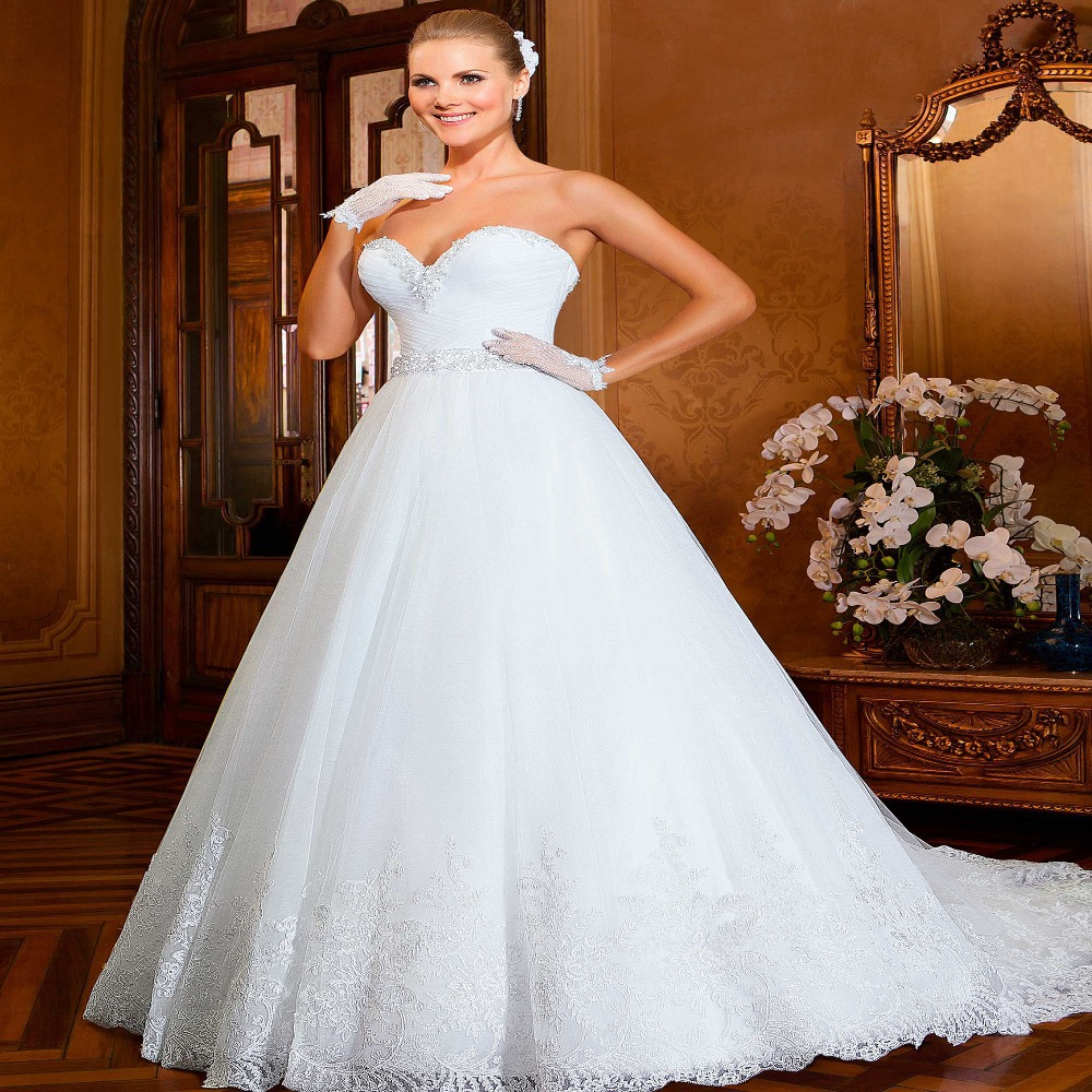Bride Gowns 2015: Vestido De Noiva Princess Sweetheart Lace Wedding Dress