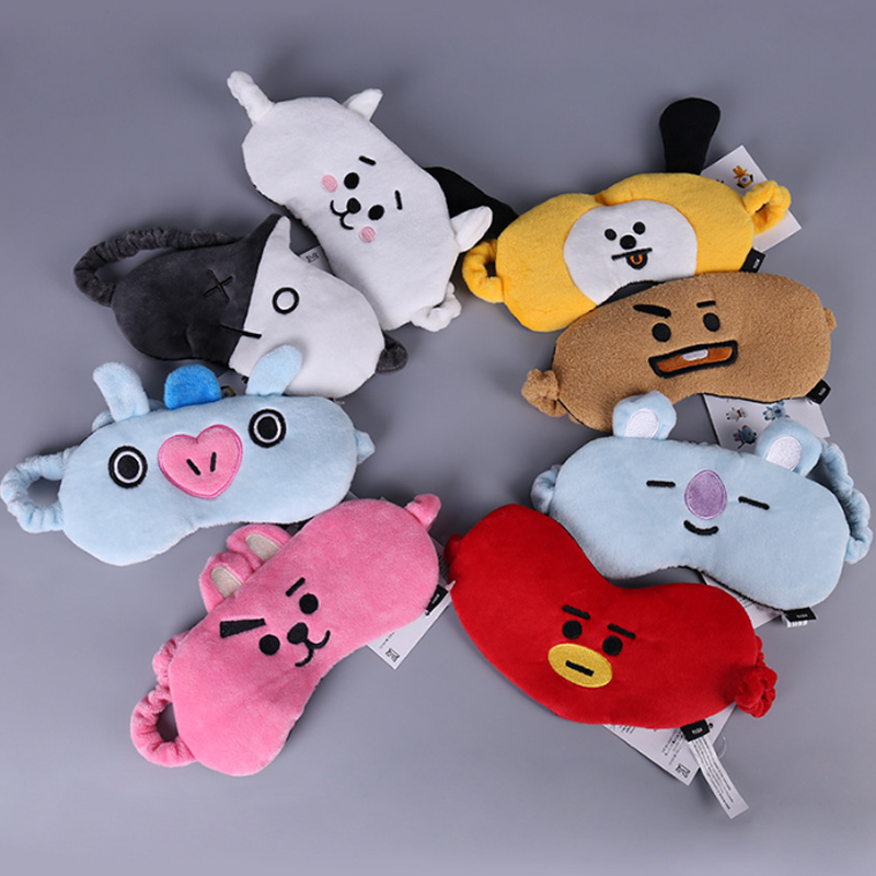 1 pcs Novelty Bangtan Boys eye patch toy BTS BT21 travel cartoon expression blinder eye-shade toy gift
