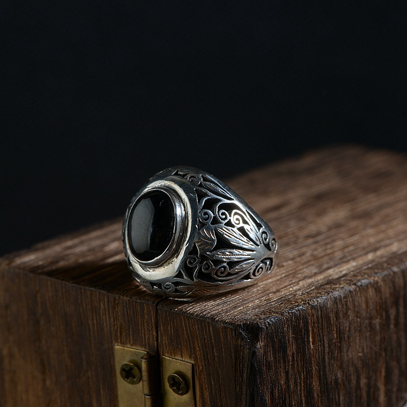 FNJ 925 Silver Flower Ring New Fashion Black Stone S925 Sterling Thai Silver Rings for Men Jewelry USA Size 6.5 10.5