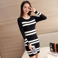 Sweater Dress 2016 Women Casual Dress Slim Bodycon Black White Striped Long Sleeve O Neck Knitted