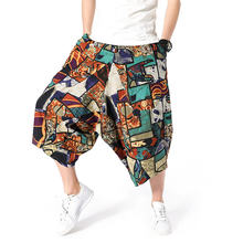 Summer 2019 Men Print Wide Leg Pants Male Cotton Linen Loose Calf-length Pants Man Harajuku Cross-pants Hiphop Jogger Trousers cheap Full Length Chinese Style REGULAR Polyester Lightweight Flat Batik Drawstring 20190521 None FAVOCENT
