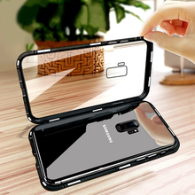 Metal Magnetic Glass Case For Samsung Galaxy A7 2018 Note 9 8 S8 S9 Plus J6 J4 Cover Shell magnet Bumper coque armor