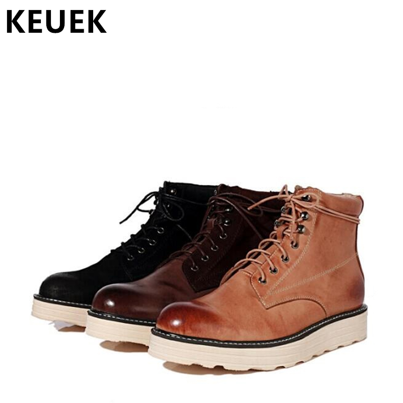 Autumn winter Men Desert Boots Genuine leather Lace-Up Ankle Martin boots Male shoes Vintage Outdoor Military boots 033 men s desert military boots touch guy cow suede genuine leather ankle martin boot