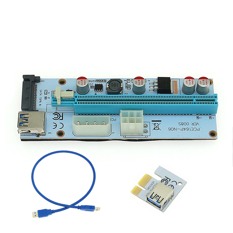 659db5c2a78 PCI-E Riser 008S PCI Express Card 1X to 16X USB 3.0 Adapter Card 60cm  Extension Cable Wire for BTC Mining Miner Machine