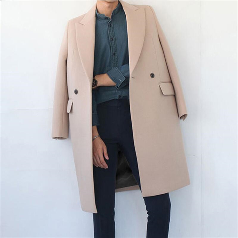 Autumn Wool Long Coat Men New Casual Thickening Trench Loose Thermal Single Button Windbreaker Wool Coat Men Overcoat Men A4085