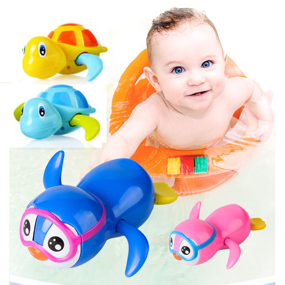 4pcs Swim Crocodile Wound-up Chain Clockwork Baby Kid Bathing Toys Bathroom Gift