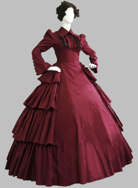 Luxury Gothic Burgundy 19th Century Noble Victorian Era Dress Civil War Ball Gowns and Southern