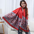 Ladies Shawls And Scarves Pashmina Autumn Winter India Jacquard Vintage Wrap Floral Rose Female Women Hijabs Scarve Cachecol