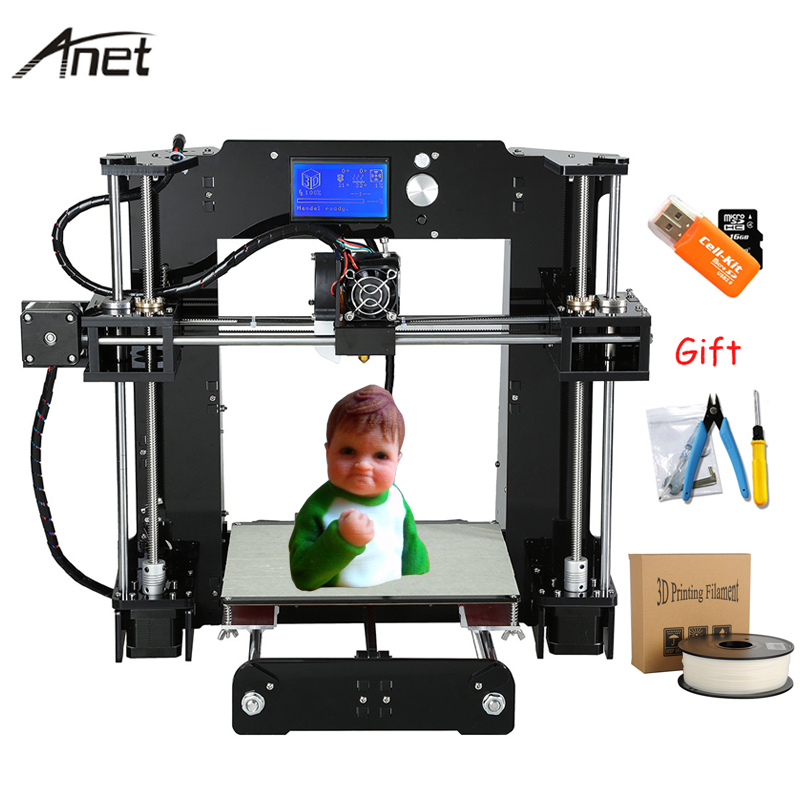 Anet A6 High Precision 3D Printer 220*220*250mm Full Acrylic Reprap i3 DIY impresora 3D Kit With Filament 16GB SD Card LCD 12864 anet a2 high precision desktop plus 3d printer lcd screen aluminum alloy frame reprap prusa i3 with 8gb sd card 3d diy printing