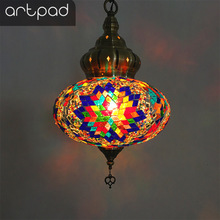 Artpad Turkish Lamp Colorful Glass Pendent Light E14 Warm White Bedroom Bar Corridor Balcony Home Kitchen Fixture Lighting